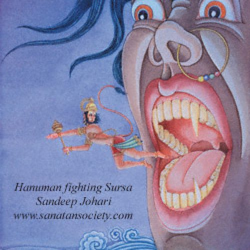 Hanuman fighting Sursa by Sandeep Johari